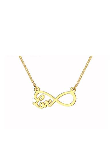 Temperament Gold Plated Figure Eight Shaped Titanium Necklace