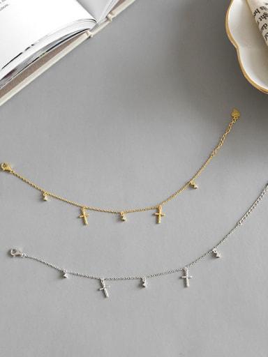 Sterling silver cross zircon slender bracelet