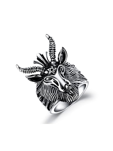 Punk style Personalized Goat Head Titanium Ring