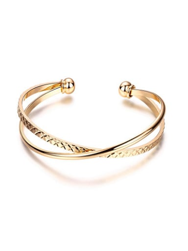 Personality 18K Gold Plated Cross Shaped Bangle