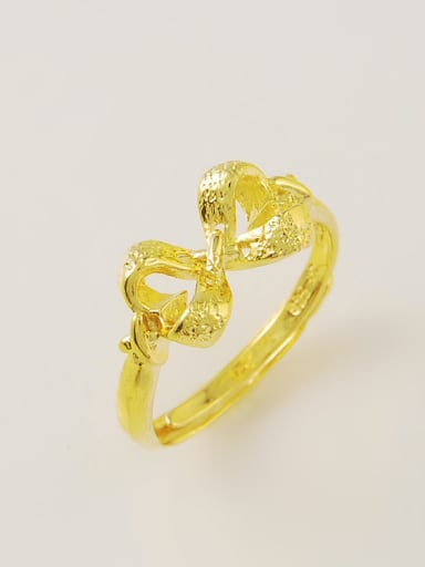 Luxury 24K Gold Plated Bowknot Shaped Copper Ring