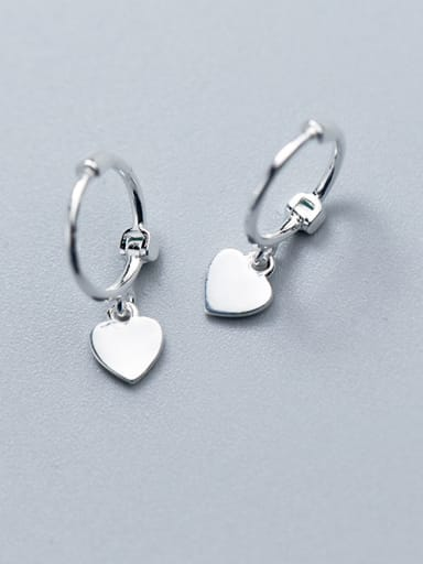 925 Sterling Silver With Platinum Plated Delicate Heart Clip On Earrings