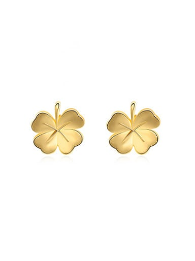 Fresh Gold Plated Clover Shaped Stud Earrings
