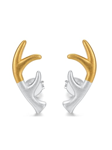 Double Color 925 Sterling Silver Deer Antlers Stud Earrings