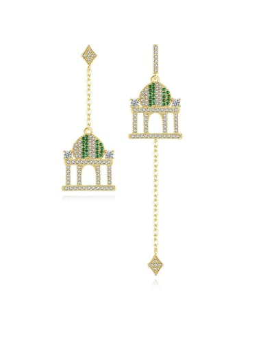 Copper With Gold Plated Delicate Castle Pendant Asymmetry Drop Earrings