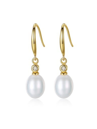 Sterling Silver 8-9mm Freshwater Pearl Gold Stud Earrings