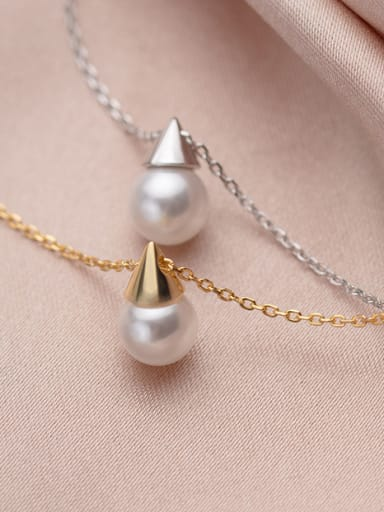 925 Sterling Silver With Artificial Pearl  Simplistic Geometric Necklaces