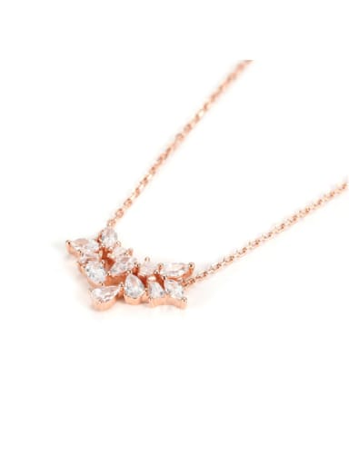 S925 Sterling Silver Rose Gold Zircon Flower Necklace