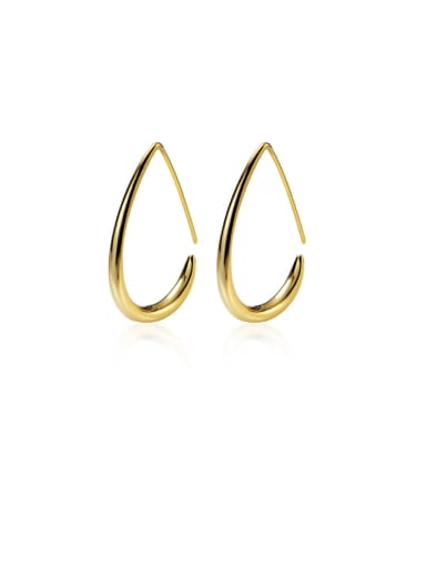 925 Sterling Silver With Smooth Simplistic Irregular Hook Earrings