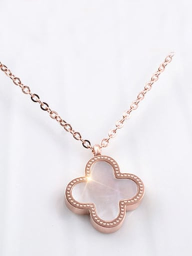 Titanium Stainless Steel Lucky Clover Necklace