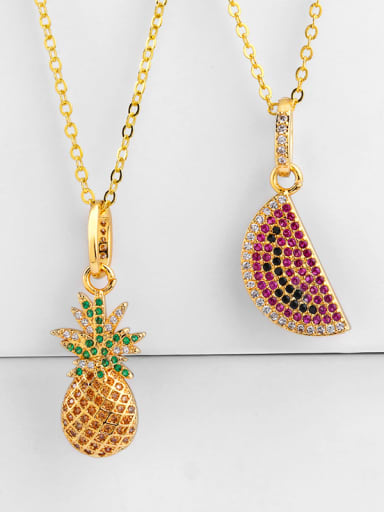 Copper With Cubic Zirconia Cute Friut Pineapple watermelon Necklaces