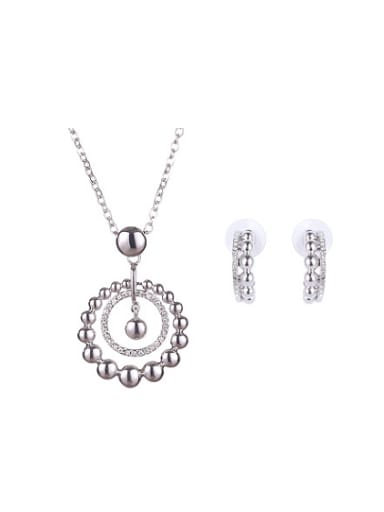 Alloy White Gold Plated Fashion Rhinestones Round Two Pieces Jewelry Set