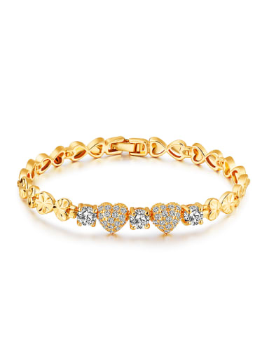 Fashion Heart shapes Zircon Gold Plated Bracelet
