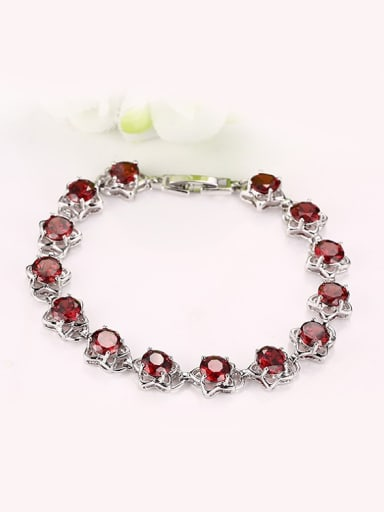 Elegant Red Star Shaped AAA Zircon Copper Bracelet