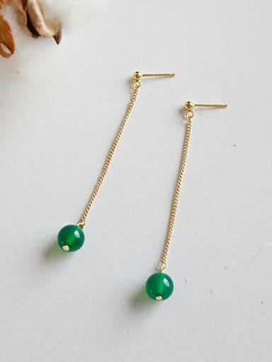 Pure silver 18k-gold green agate long earrings