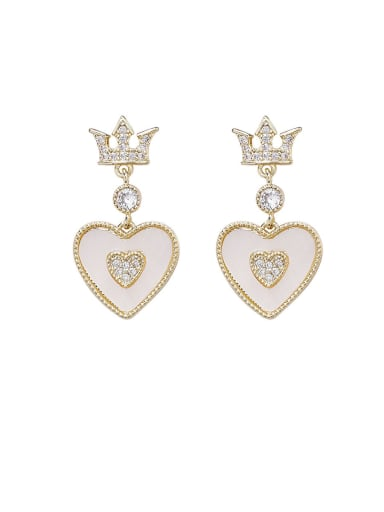 Alloy With Gold Plated Simplistic Crown Heart Drop Earrings