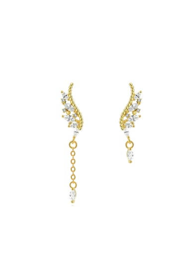 Creative Asymmetry Silver Zircon Drop Earrings