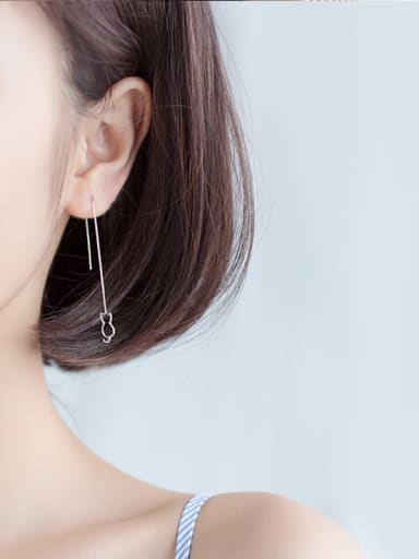 925 silver thread, female, simple, hollowed, asymmetrical cat fish ear line, lovely sweet long ear chain ear drop E3743