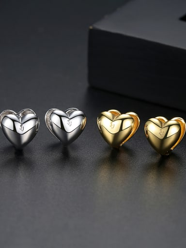 Copper With Platinum Plated Delicate Heart Stud Earrings