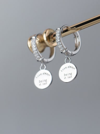 925 Sterling Silver With Platinum Plated Personality Monogrammed Clip On Earrings