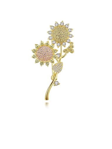 Copper With Gold Plated Personality Flower Brooches