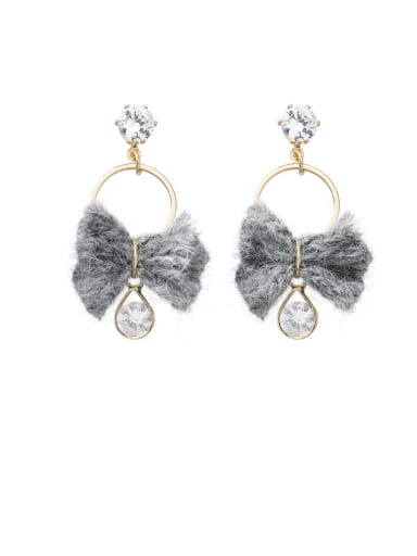 Alloy With Imitation Gold Plated Simplistic Bowknot Drop Earrings