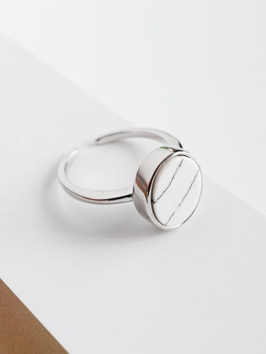 Sterling silver personality geometry ellipse white-turquoise free size ring
