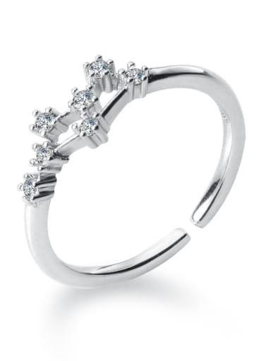 925 Sterling Silver With Platinum Plated Simplistic Constellation Free size Rings