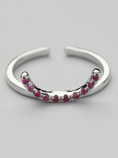 Delicate Geometric Zircon Silver Ring