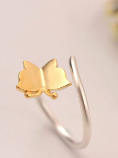 Two Color Plated Butterfly Opening Ring