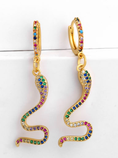 Copper With  Cubic Zirconia Personality Animal snake Drop Earrings