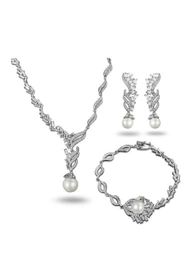 Exquisite 18K White Gold Plated Artificial Pearl Three Pieces Jewelry Set