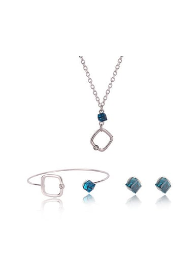 Alloy White Gold Plated Simple style Artificial Cube Stone Three Pieces Jewelry Set