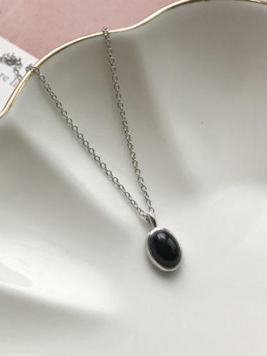 Sterling silver classic black semi-precious stones necklace