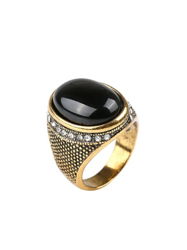 Retro style Black Resin stone White Crystals Alloy Ring