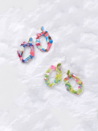Alloy With Acrylic  Exaggerated Colorful Geometric Chandelier Earrings