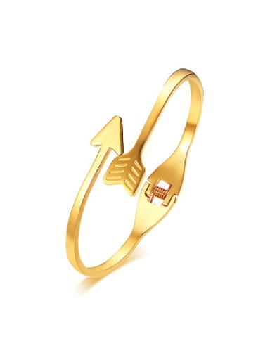 All-match Open Design Gold Plated Arrow Shaped Bangle