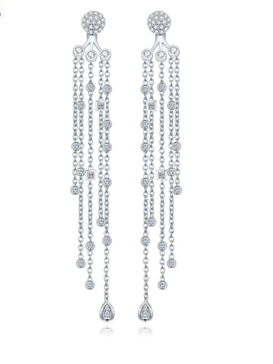Copper With Platinum Plated Trendy Tassels Chandelier Earrings