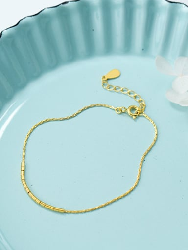 Elegant Gold Plated Geometric Shaped 925 Silver Bracelet