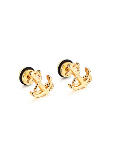 Simple Tiny Ship Anchor Titanium Stud Earrings