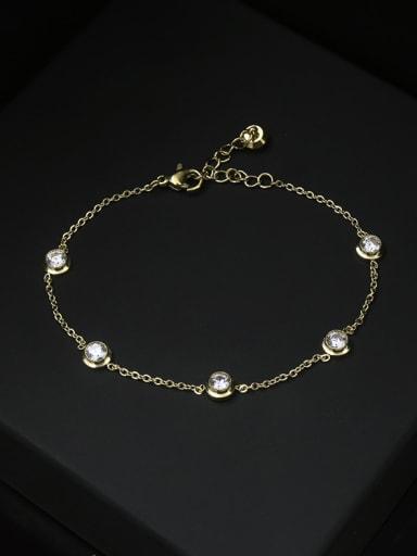 Single Line Simple Style Zircons Women Bracelet