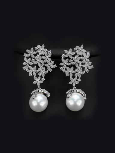 Flower Pearl drop earring