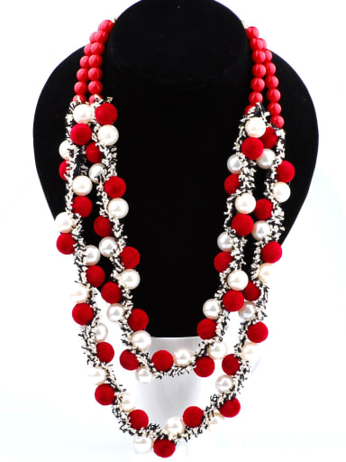 Ethnic style Exaggerated Double Layers Pompon Imitation Pearls Necklace