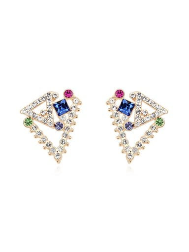 Personalized Geometrical Swarovski Crystals Alloy Stud Earrings