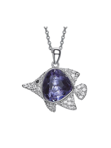 Fashion Purple Swarovski Crystal Zircon Fish Necklace