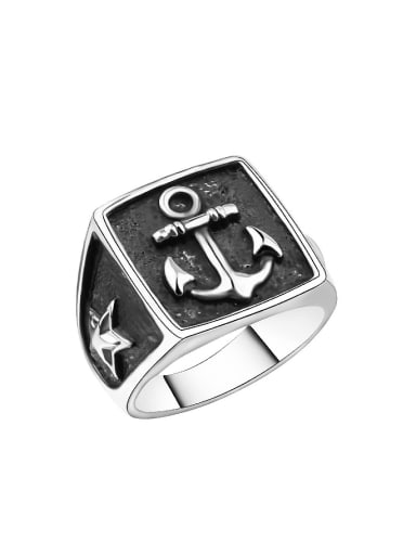 Punk style Black Ship Anchor Alloy Ring