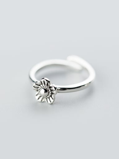 Vintage Flower Shaped S925 Silver Open Design Ring