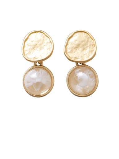 Alloy With Gold Plated Simplistic Round Drop Earrings