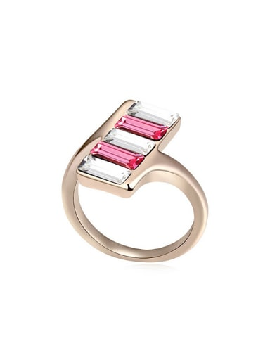 Personalized Rectangular Swarovski Crystals Stack Alloy Ring