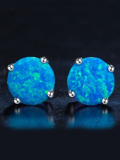 2018 2018 Round Opal Stone stud Earring